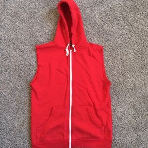 Other - Red Sleeves Zip Up Hoodie